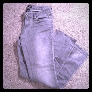 Grey stretch boot cut jeans size 6